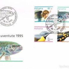 Sellos: SUIZA IVERT Nº 1494/7,POR LA JUVENTUD, SELLO DE NAVIDAD Y ANIMALES, PRIMER DIA DE 28-11-1995. Lote 266925379