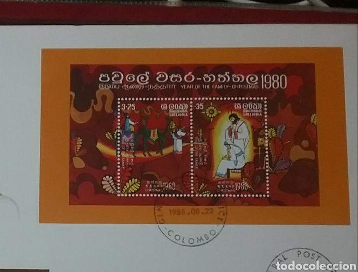 Sellos: HB, Shi Lanka mtdos/ Sobre Emision Filatelia + Numismatica/1980/navidad/religion/magos/billete 5 rup - Foto 2 - 267409619