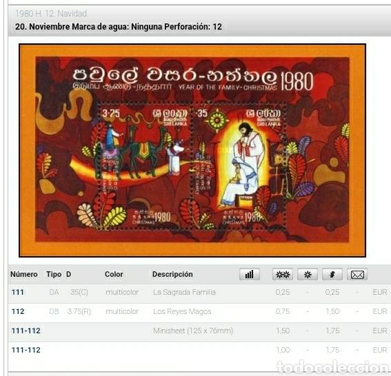 Sellos: HB, Shi Lanka mtdos/ Sobre Emision Filatelia + Numismatica/1980/navidad/religion/magos/billete 5 rup - Foto 6 - 267409619