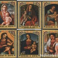 Sellos: BURUNDI 1973 IVERT 577/9 Y AÉREO 313/5 *** NAVIDAD - CUADROS DE LA VIRGEN - ARTE - PINTURA. Lote 275915768