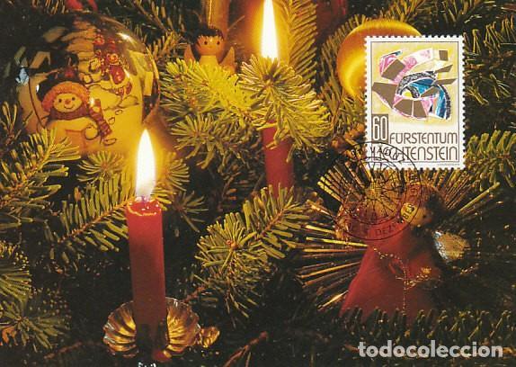 LIECHTENSTEIN IVERT 1037, NAVIDAD 1994, VELAS Y ADORNOS NAVIDEÑOS, TARJETA MAXIMA DE 5-12-1994 (Sellos - Temáticas - Navidad)