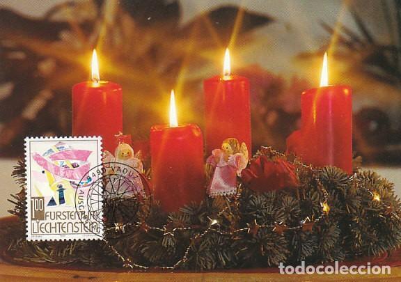 LIECHTENSTEIN IVERT 1039, NAVIDAD 1994, VELAS Y ADORNOS NAVIDEÑOS, TARJETA MAXIMA DE 5-12-1994 (Sellos - Temáticas - Navidad)