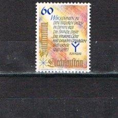 Sellos: LIECHTENSTEIN IVERT Nº 1014/6, NAVIDAD 1993, TEXTOS DE CANTICOS DE NAVIDAD, NUEVO *** SERIE COMPLETA. Lote 278587893