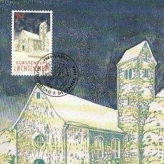 Sellos: LIECHTENSTEIN IVERT 993, NAVIDAD 1992,CAPILLA DE SANTA MARIA EN TRIESEN, TARJETA MAXIMA DE 7-12-1992. Lote 278600673
