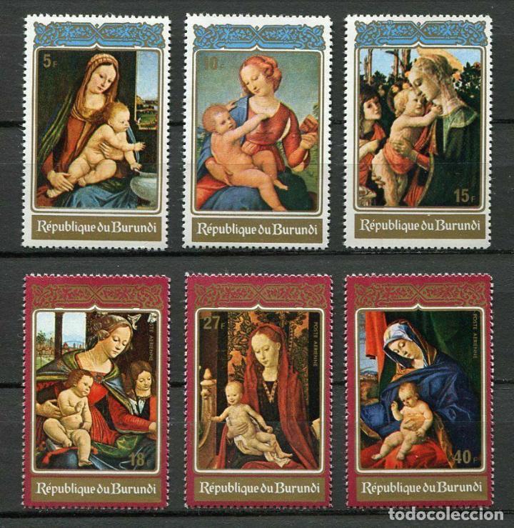 BURUNDI 1972 IVERT 511/3 Y AÉREO 252/4 *** NAVIDAD - PINTURA - CUADROS DE LA VIRGEN Y EL NIÑO JESÚS (Sellos - Temáticas - Navidad)