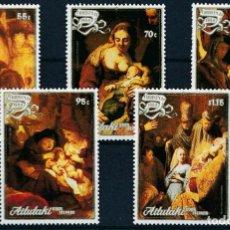 Sellos: AITUTAKI 1988 IVERT 476/80 *** NAVIDAD - CUADROS DE REMBRANDT - ARTE - PINTURA. Lote 288942068