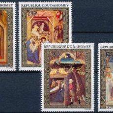 Sellos: DAHOMEY 1972 AEREO IVERT 174/7 *** NAVIDAD - PINTURA RELIGIOSA - CUADROS DE GIOTTO. Lote 297324048