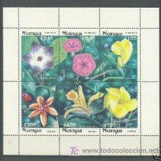 Sellos: NICARAGUA 1985 FLORA FLORES HOJITA BLOQUE DE 6 SELLOS. Lote 26025835