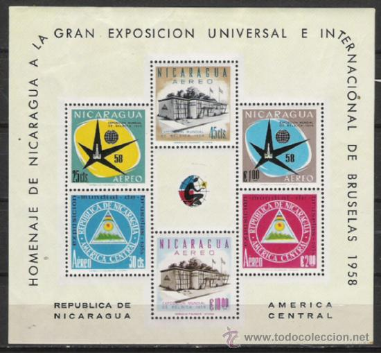 NICARAGUA HOJITA Nº 86 BRUSELA 1958 (Sellos - Extranjero - América - Nicaragua)
