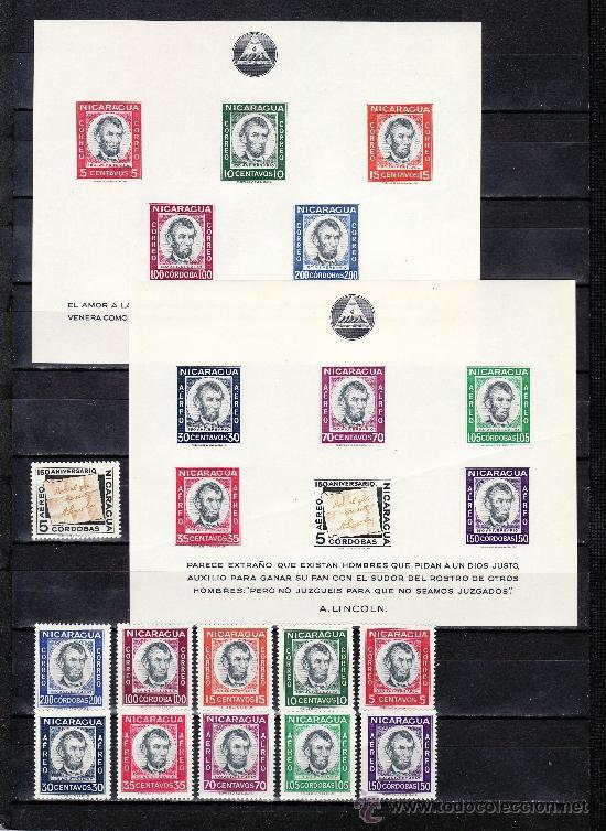 NICARAGUA 846/50, A 408/13, HB 93/4 SIN CHARNELA, 150 ANIVº NACIMIENTO PRESIDENTE ABRAHAM LINCOLN (Sellos - Extranjero - América - Nicaragua)