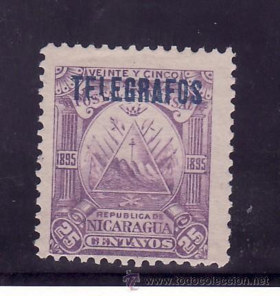 NICARAGUA TELEGRAFOS 46 CON CHARNELA, SOBRECARGADO (Sellos - Extranjero - América - Nicaragua)