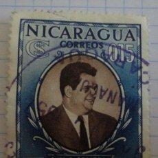 Sellos: SELLO DE NICARAGUA. AZUL. 15 CT. MATASELLADO. LUIS A. SOMOZA.. Lote 28496693