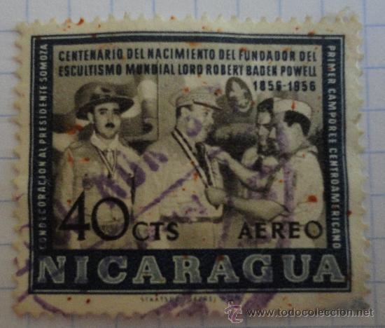 SELLO DE NICARAGUA. AZUL. 40 CT. AÉREO. MATASELLADO. (Sellos - Extranjero - América - Nicaragua)