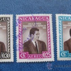 Sellos: 1957 NICARAGUA, AEREOS, PRESIDENTE SOMOZA. Lote 29648175