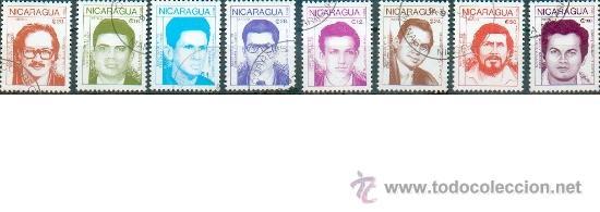 8 SELLOS DEDICADOS A LOS HÉROES DE LA REVOLUCIÓN (Sellos - Extranjero - América - Nicaragua)
