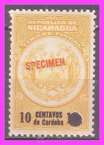 NICARAGUA 1921 SPECIMEN 10 CTV. AMARILLO * (Sellos - Extranjero - América - Nicaragua)