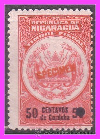 NICARAGUA 1921 SPECIMEN 50 CTV. ROJO * (Sellos - Extranjero - América - Nicaragua)