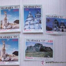 Sellos: LOTE DE 5 SELLOS DE NICARAGUA EPOCA SANDINISTA : MONUMENTOS. Lote 42420678