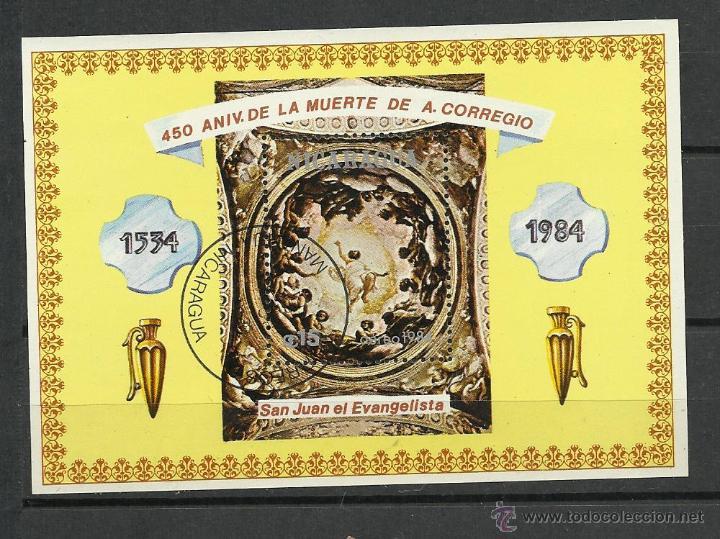 NICARAGUA HOJA BLOQUE DE 1984 DE PINTURA SAN JUAN EL EVANGELISTA (Sellos - Extranjero - América - Nicaragua)