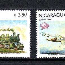 Sellos: NICARAGUA AEREO 984/85** - AÑO 1982 - TRENES - AVIONES - TRANSPORTES POSTALES. Lote 58304571