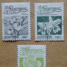Sellos: LOTE 3 SELLOS NICARAGUA 10 FLORES 1987. Lote 85966171