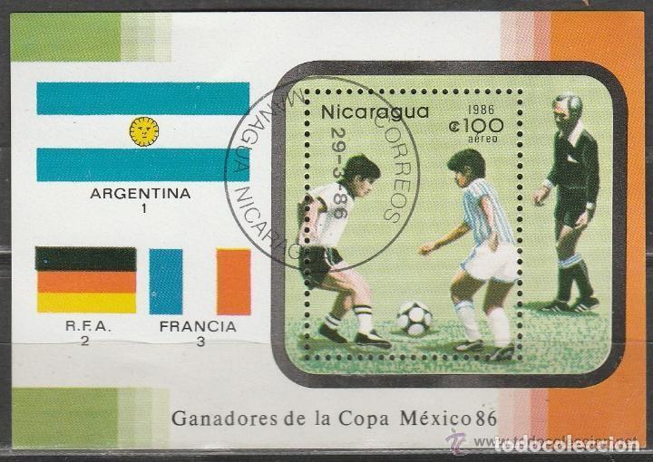 NICARAGUA. 1986. MHB. AEREA. MUNDIAL MEXICO '86. *,MH (Sellos - Extranjero - América - Nicaragua)