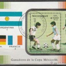 Sellos: NICARAGUA. 1986. MHB. AEREA. MUNDIAL MEXICO '86. *,MH. Lote 96919727