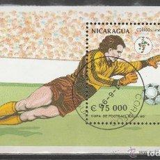 Sellos: NICARAGUA. 1990. MHB. MUNDIAL FUTBOL ITALIA' 90. *.MH. Lote 97109063