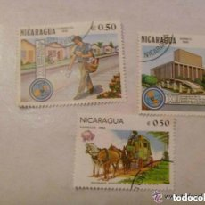 Sellos: LOTE DE 3 SELLOS DE NICARAGUA : TEMA CORREOS, CARTERO.. Lote 98884583