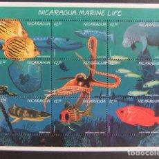 Sellos: NICARAGUA 1996 FAUNA VIDA MARINA PECES YVERT 2185 / 93 ** MNH. Lote 100546887