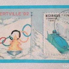 Sellos: HOJA BLOQUE NICARAGUA 1990 ALBERTVILLE 92. Lote 101575527