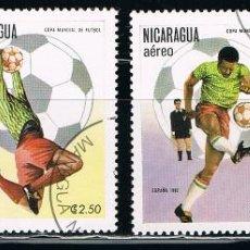 Sellos: NICARAGUA - LOTE DE 4 SELLOS - FUTBOL (USADO) LOTE 13. Lote 114635455