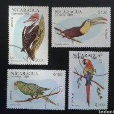 Sellos: NICARAGUA. YVERT 1161/4. SERIE COMPLETA USADA. FAUNA. AVES.. Lote 117413678