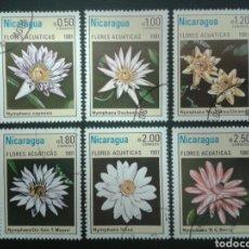 Sellos: NICARAGUA. YVERT 1155/60. SERIE COMPLETA USADA. FLORA. FLORES ACUÁTICAS. Lote 118040412