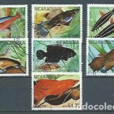 Sellos: NICARAGUA,1981,PECES TROPICALES,USADOS,YVERT 1160A-1160G. Lote 154496066