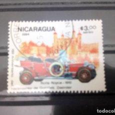 Sellos: NICARAGUA, 150 ANIVERSARIO DEL NACIMIENTO DE G. DIÉSEL. - ROLLS ROYCE 1910, SELLO DE 1984. Lote 125264823