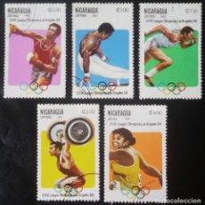 Sellos: LOTE DE CINCO SELLOS DE NICARAGUA. TEMA JUEGOS OLIMPICOS DE LOS ANGELES 1984. Lote 128963507