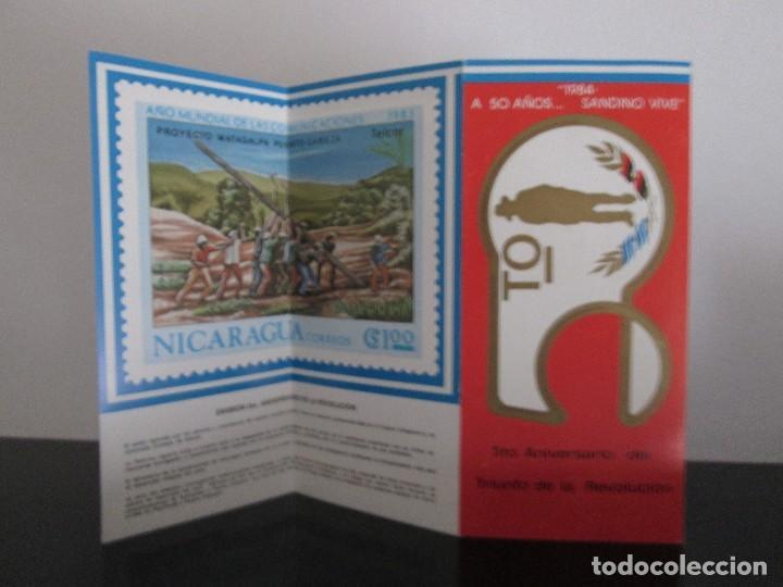 Sellos: TRIPTICO A 50 AÑOS SANDINO VIVE CON SOBRE PRIMER DIA Y SELLOS - Foto 2 - 132558086