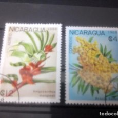 Sellos: NICARAGUA 1988,** FLORES . Lote 133629126