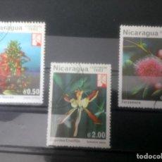 Sellos: NICARAGUA 1982, FLORES, ORQUÍDEA, REINA DEL VOLCAN Y ZARZAMORA . Lote 133629706