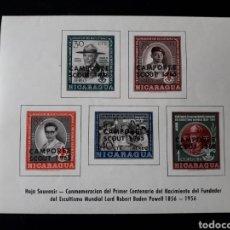 Sellos: NICARAGUA. YVERT HB-104. SERIE COMPLETA CON CHARNELA. SCOUTS. SOBRECARGADA.. Lote 136780384