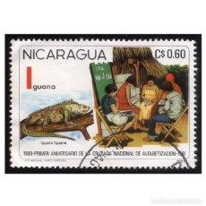 Sellos: NICARAGUA 1981. MI E2180. IGUANA VERDE. EDUCACIÓN. USADO. Lote 142579942