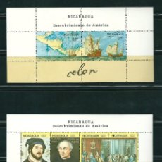 Sellos: NICARAGUA 1986 HB 1433/34 DOS HOJAS BLOQUE DESCUBRIMIENTO DE AMERICA COLON. Lote 149106350