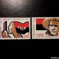 Sellos: NICARAGUA. YVERT 1153 + A-962. SERIE COMPLETA USADA. SANDINO. 20 ANIVERSARIO DEL FSLN.. Lote 151339376