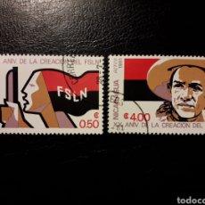 Sellos: NICARAGUA. YVERT 1153 + A-962. SERIE COMPLETA USADA. SANDINO. 20 ANIVERSARIO DEL FSLN.. Lote 151339392