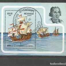 Sellos: NICARAGUA HOJA BLOQUE YVERT NUM. 153 MATASELLADA DESCUBRIMIENTO DE AMERICA LA SANTA MARIA. Lote 185723285