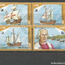 Sellos: NICARAGUA DESCUBRIMIENTO DE AMERICA YVERT NUM. 1214/1217 SERIE COMPLETA MATASELLADA. Lote 189411280