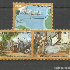 Sellos: NICARAGUA CORREO AEREO DESCUBRIMIENTO DE AMERICA YVERT NUM. 1001/1003 SERIE COMPLETA MATASELLADA. Lote 189411316