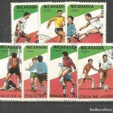 Sellos: NICARAGUA AEREO COPA DEL MUNDO DE FUTBOL ITALIA´90 YVERT NUM. 1171/1172 SERIE COMPLETA MATASELLADA. Lote 205706903