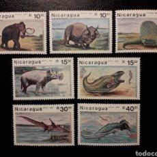 Sellos: NICARAGUA. YVERT 1467/9 + A-1191/4 SERIE COMPLETA NUEVA SIN CHARNELA. FAUNA PREHISTÓRICA. Lote 180909907